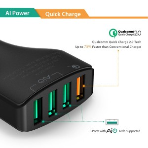 Aukey 4-USB 54W Quick Charge 2.0 Car Charger with AIPower Smart charging